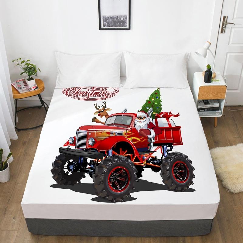 3d Hd Digital Printing Custom Laken Met Elastische, Cartoon Hoeslaken Kids Baby, Kerst Kerstman 150x200 Matrashoes