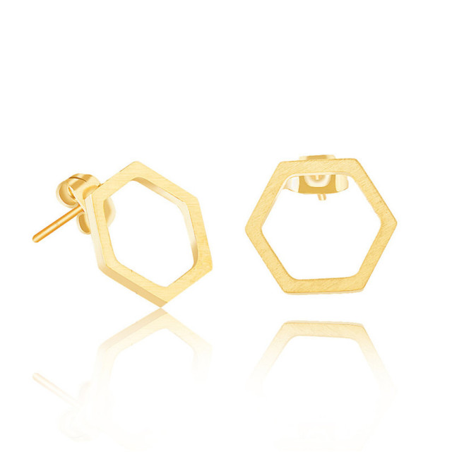 Minimal Hexagon Stud Earrings For Women Stylish Modern Geometric Honeycomb Honeybee Jewelry Rose Gold Color Charm Binrcos Aros