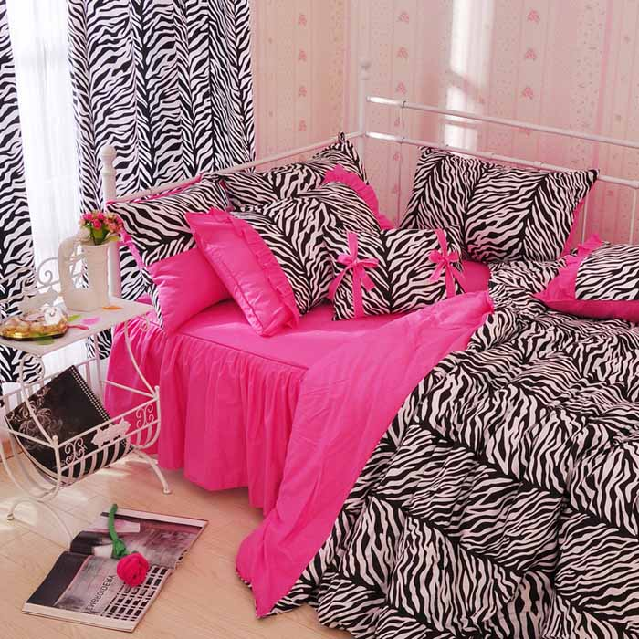 100% cotton Pink zebra black and white 3pcs 4pcs Princess ...