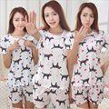 Conjuntos Pijamas Animal impressão Ocasional das Mulheres Em Torno Do Pescoço quente encantador de manga Curta Pijamas Pijamas de Verão cozy sleepwear Terno