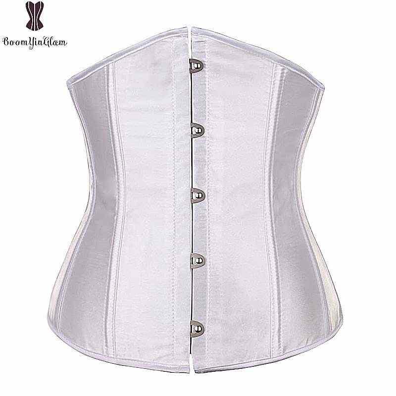 Атлас сплошной грудью корсет для женщин; большие размеры Корсеты с пластиковыми косточками бюстье талии похудения Korset ежедневно наряд простой Corselet6XL