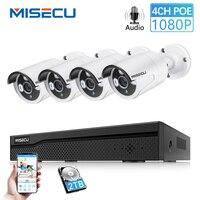 MISECU 4CH POE CCTV система видеонаблюдения 1080 P 2MP аудио запись POE IP Camara IR Vision Emai оповещение наружная система безопасности видео