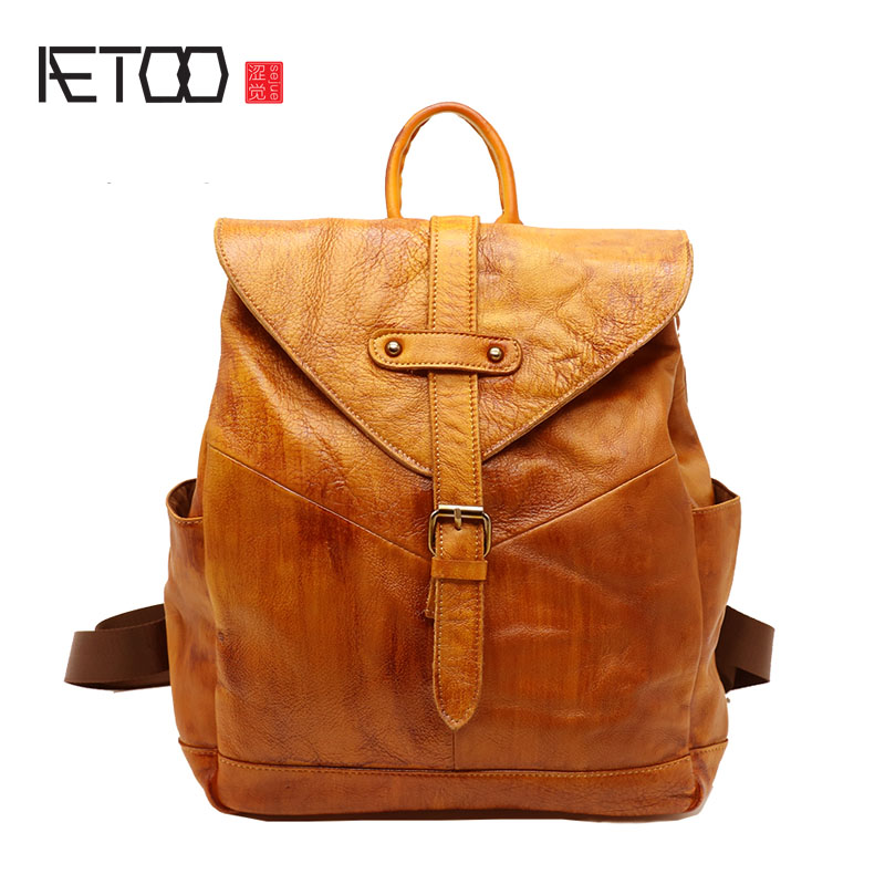 AETOO Shoulder bag female backpack retro new leather fashion simple wild ladies Baotou layer of leather bags 2017 new female genuine leather handbags first layer of cowhide fashion simple women shoulder messenger bags bucket bags
