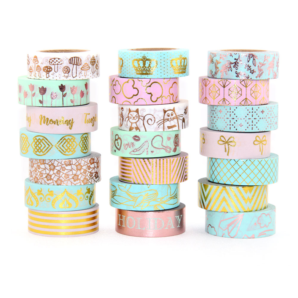 1X Foil Washi Tape Scrapbooking Tools Cute Adhesiva Decorativa Japanese Stationery Washi Tapes in Office Adhesive Tape from Office School Supplies