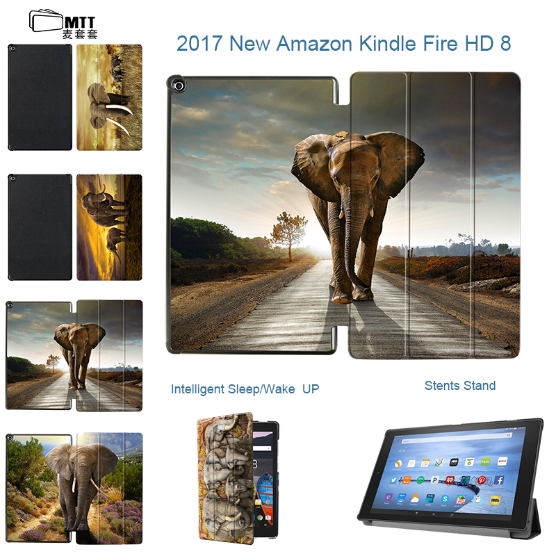 MTT Custom Elephant For Amazon Kindle Fire HD 8 2017 Filp Tri-Folding PU Leather Smart Cover for all new Fire HD 7th Tablet Case cartoon painted flower owl for kindle paperwhite 1 2 3 case flip bracket stand pu cover for amazon kindle paperwhite 1 2 3 case