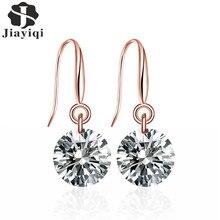 Jiayiqi(Jiayiqi) Women Jewelry 2017 Fashion Handmade Stud Earrings in Copper with AAA Round Simulated Crystal For Women Jewelry