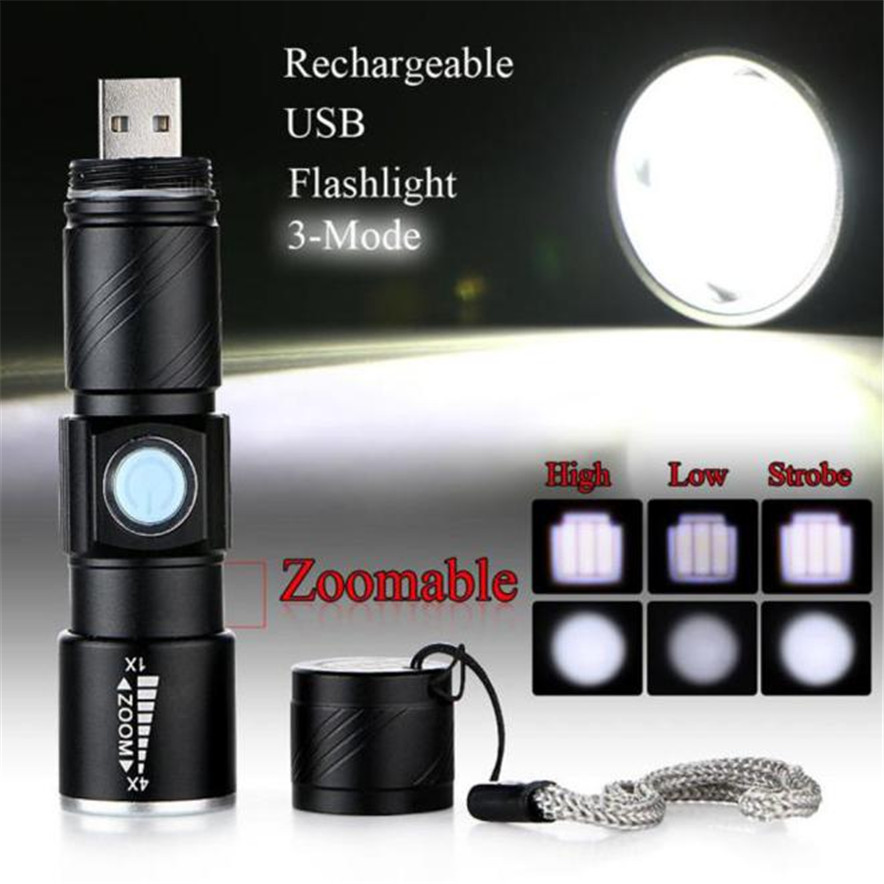 PROBE SHINY USB Handy Powerful LED Flashlight Rechargeable Torch usb Flash Light Bike Pocket LED Zoomable Lamp For Hunting Black
