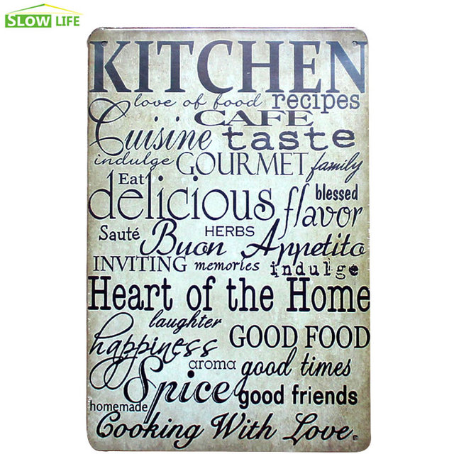Kitchen Recipes Metal Tin Sign Hotel Family Wall Decor Vintage Home