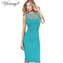 Vfemage Womens Elegant Sexy See Through Mesh Patchwork Slim Casual Wear to Work Office Business Party Fitted Bodycon Dress 6209