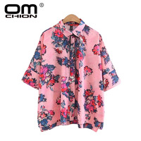 OMCHION Blusas Mujer De Moda 2017 Floral Printed Summer Blouse Women Bow Lace Tie Female Shirt