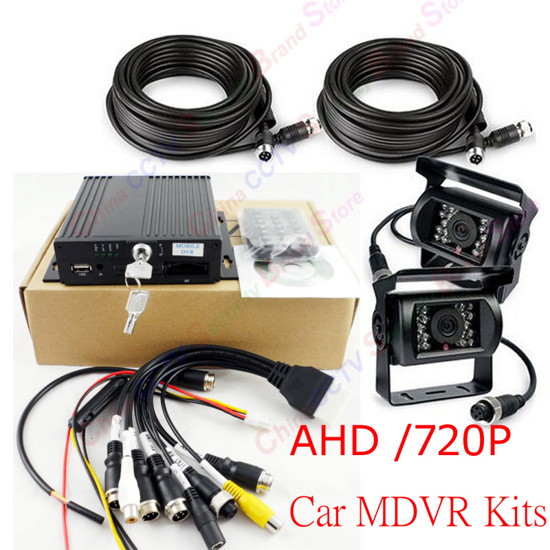 4 Channel H.264 960H SD Car Vehicle Mobile DVR Surveillance System AHD MDVR 2pcs Waterproof IR mini CCTV AHD Camera System