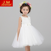 Top Value Kids Girls Wedding Dress Satin Flower Girl Dress With Sequins Bows Hand Beading For