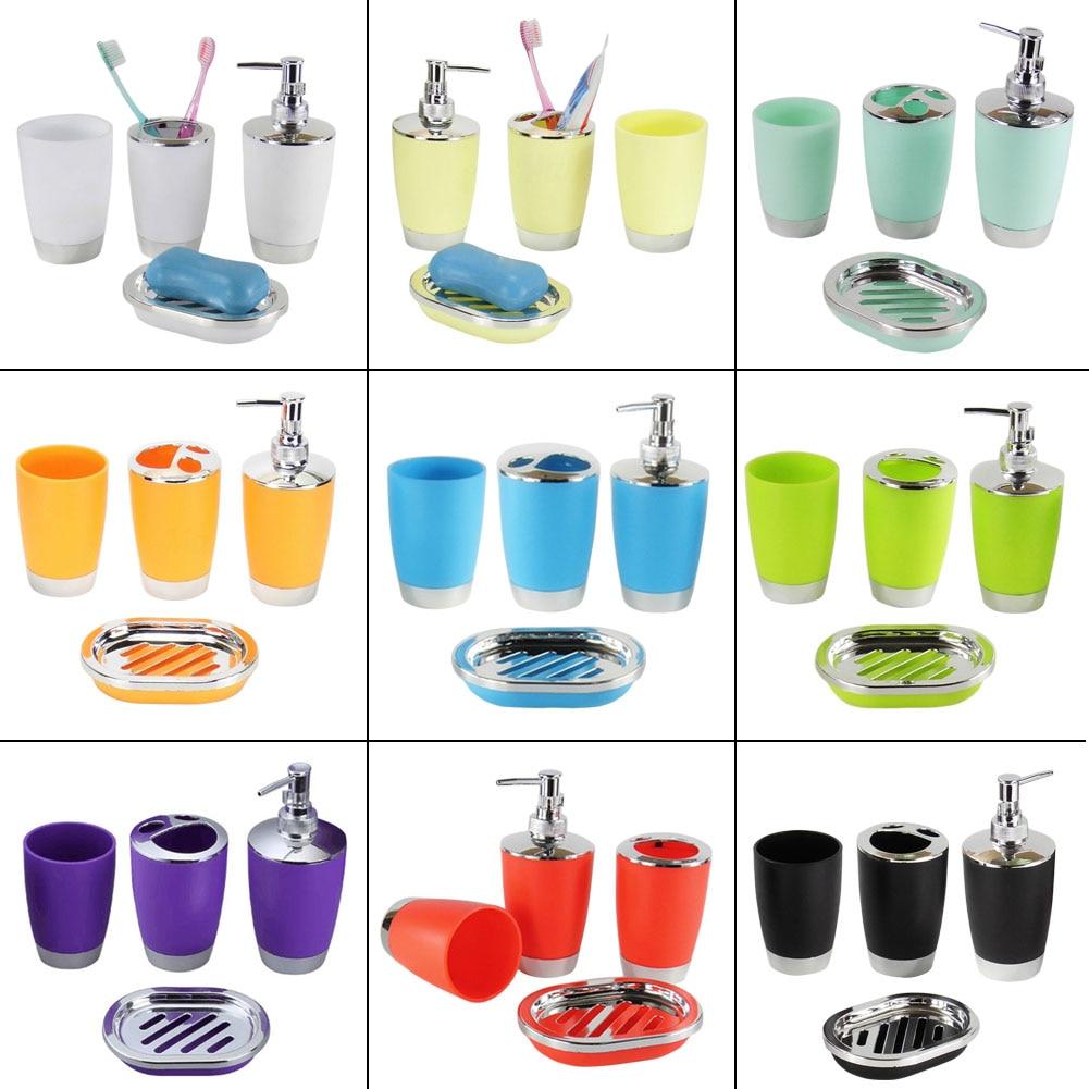 4 Pcs/Set Bathroom Suit Plastic Shampoo Press Bottle Wash Gargle Cup Toothbrush Holder Soap Dish Bath Accessories 2017ing