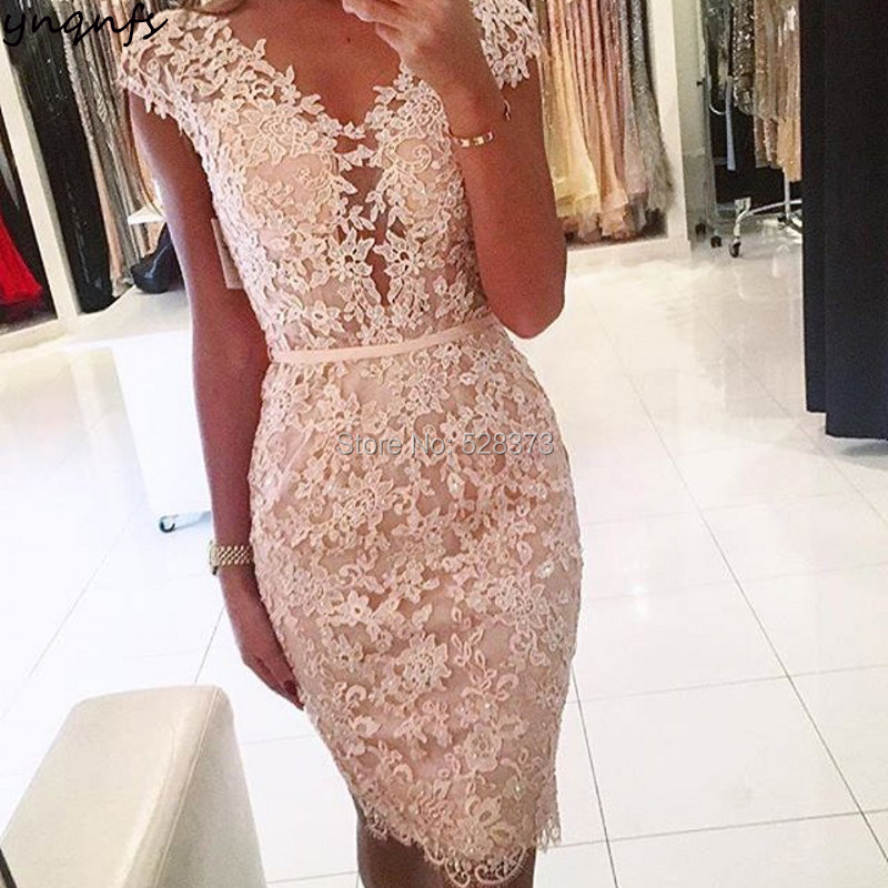 YNQNFS CD64 Short Bridesmaid Dresses Vestidos Curtos Sexy V Neck Cap Sleeves Backless Party Lace Gown 2018