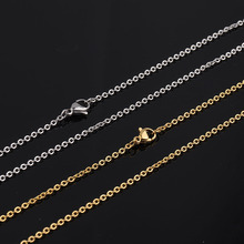 цена на 5pcs/lot 316L Stainless Steel 2mm Rolo Link Chain Necklace 50cm Length Gold Silver Tone Cable Chain with Lobster Clasp Necklace