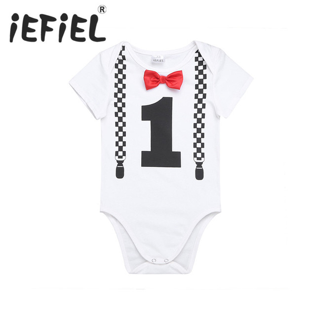 758315ac7dd iEFiEL Infant Baby Boys Short Sleeves 1ST First Bowknot Birthday Party  Gentleman Romper Jumpsuit Newborn Clothes
