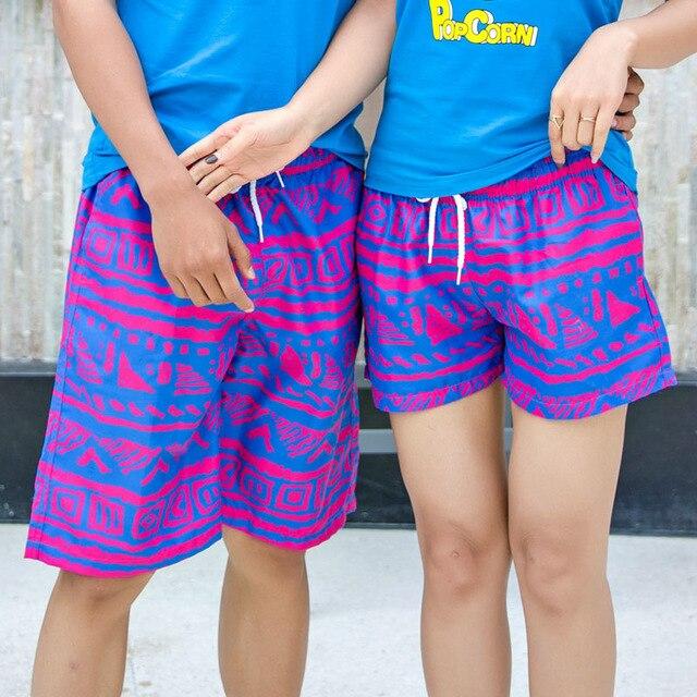 2018 Fashion Couple Shorts Summer Hawaii Board Shorts Lovers Beach Men BoardShorts Swimwear Swimshorts Bermudas Funny Plus Size