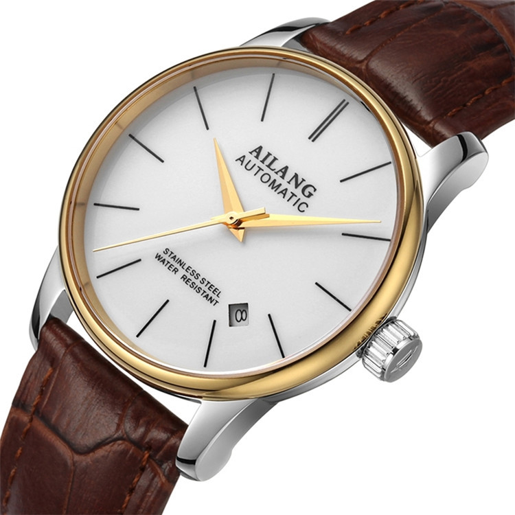 AILANG Brand Simple Business Statement Watches Self Wind Mechanical Calendar Wrist watch Leather Steel Dress Relojes 3ATM W011