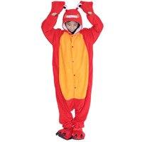ผู้ใหญ่Onesiesปูชุดนอนผู้ชายผู้หญิงการ์ตูนหลวมสีแดงสัตว์Lobster