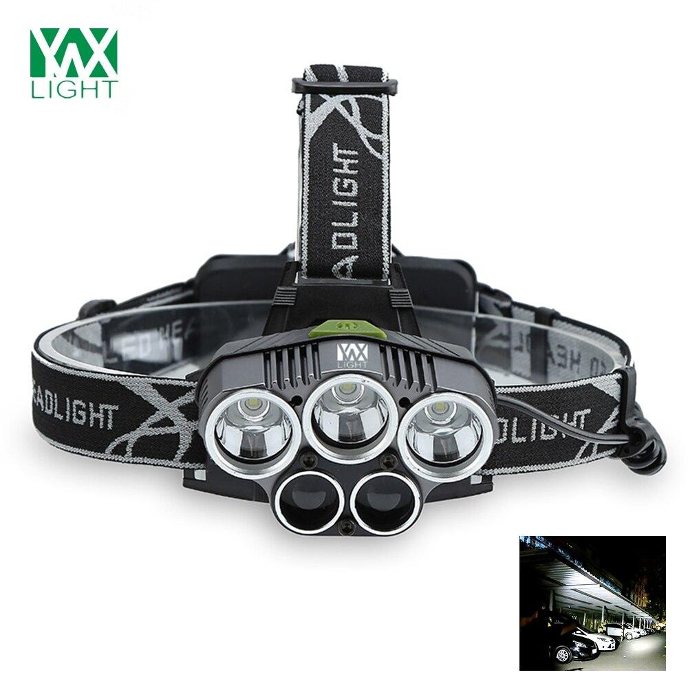 LED Headlamp 5000 Lumen Brightness 5 Light Saning Flashlight Linterna Waterproof for Camping Travel Walking Fishing Headlight