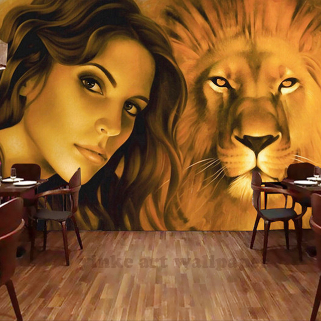 Beauty And Lion 3d Wallpapers For Wall Sofa Bedroom Tv Background