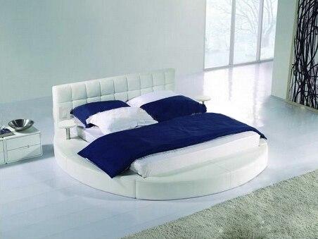 Tamaño extra grande cama redonda, crema blanca elegante cuero de ...
