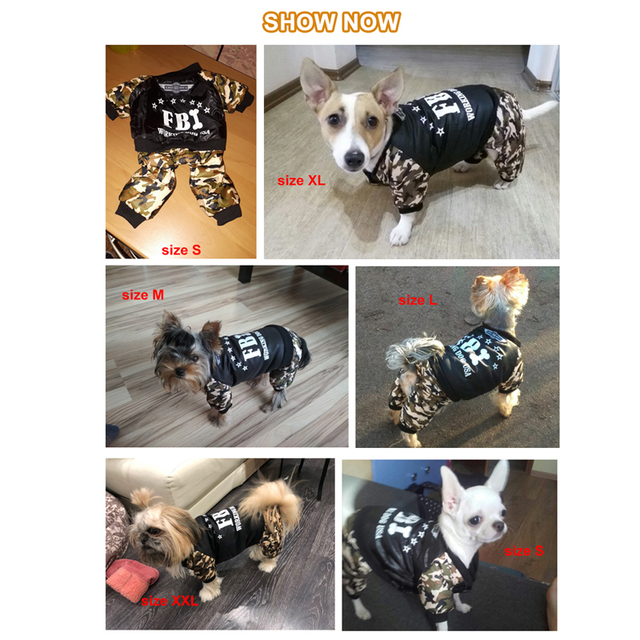 Cool FBI Pet Dog Clothes Overall Thickening Dog Puppy Jumpsuit Costume Warm Winter Clothing For Boy Dogs Ropa Para Perros 3
