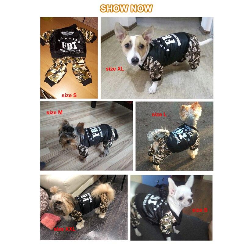 Cool FBI Pet Hunde Tøj Samlet Fortykkelse Hunde Puppy Jumpsuit - Pet produkter - Foto 3