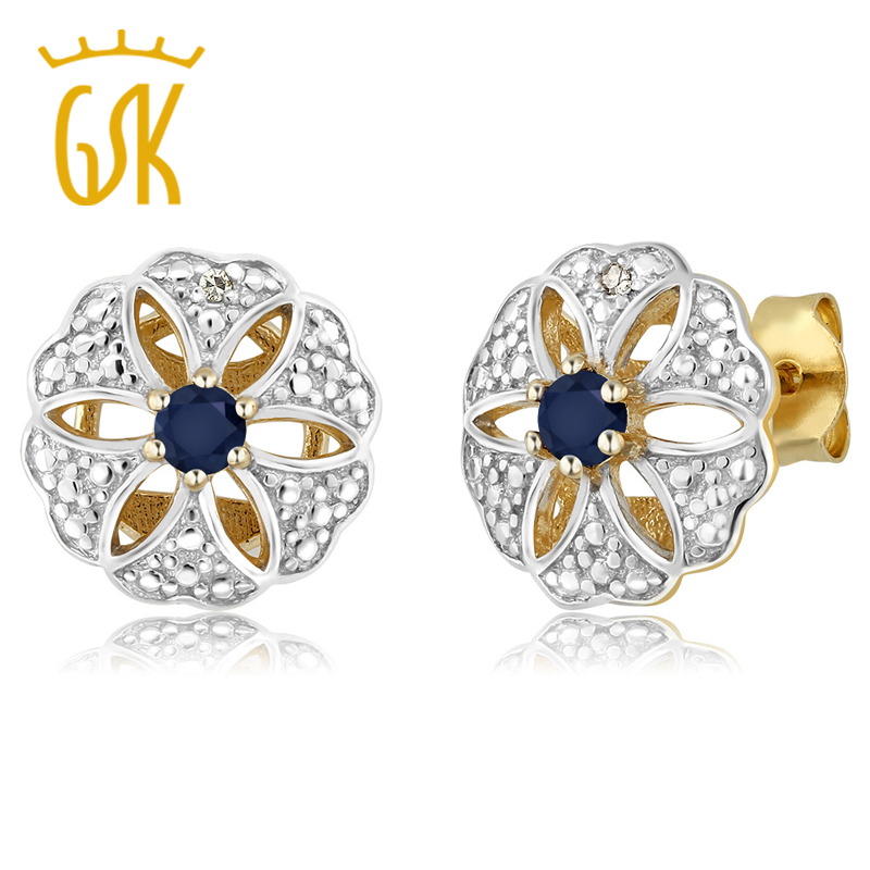 GemStoneKing 0.26 Ct Natural  Blue Sapphire & Diamond 18K Yellow Gold Plated Silver Vintage Elegant  Stud Earrings For Women