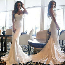 White Spaghetti Strap Mermaid Evening Dress Backless Bridal Gown prom Dresses