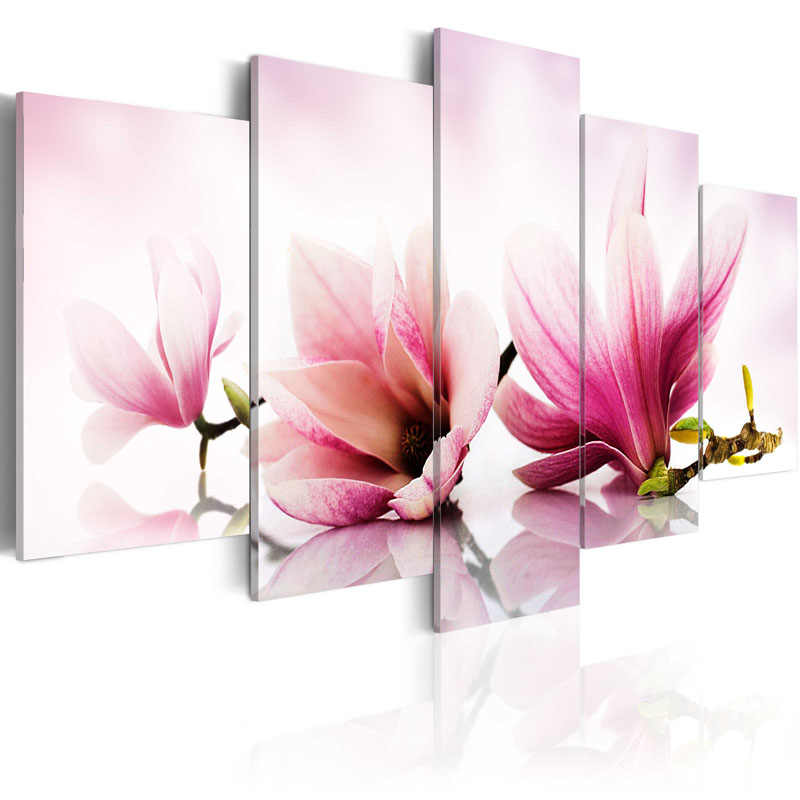 5 Pieces Printed Orchid Flower Canvas Oil Painting Decoration Wall Picture In Living Room Modern Canvas Art Framed PJMT-41