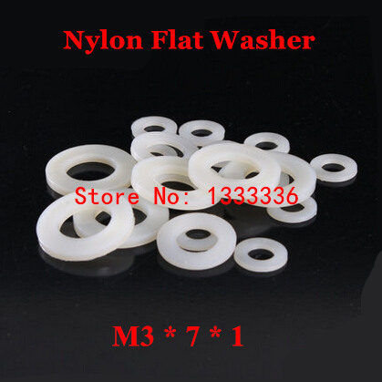 1000pcs M3*7*1 Nylon Flat Washer   M3 White Plastic Insulation Plain Ring Gasket Plated Spacers