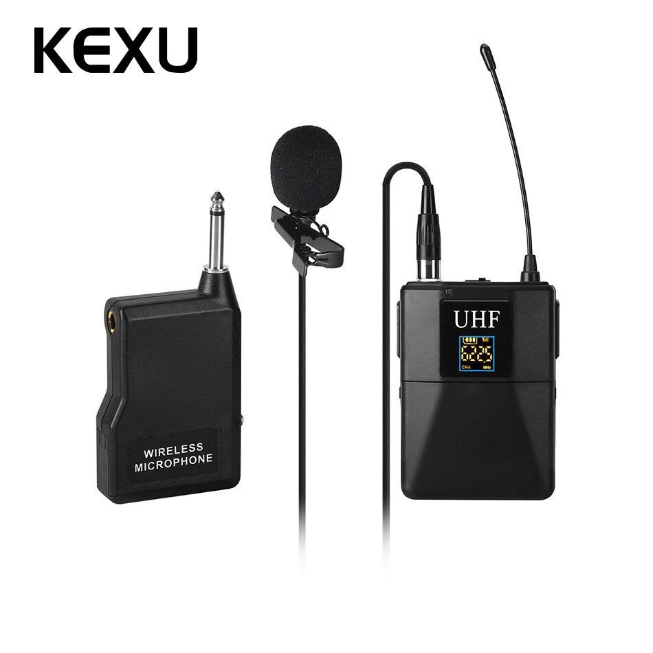 KEXU Professionnel UHF Système de Microphone Sans Fil Cravate Revers Micro Récepteur + Émetteur pour Caméscope Enregistreur Microphone