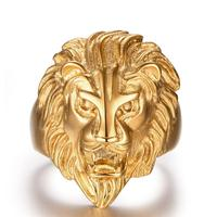Fashion Gold Color Stainless Steel Lion Rings High Quality Punk Charm Man Biker Gothic Rings Male