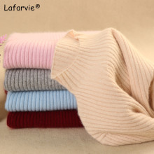 Lafarvie New Slim Cashmere Blended Knitted Sweater Women Tops Autumn Winter Fashion Turtleneck Long Sleeve Warm Pullover Pull