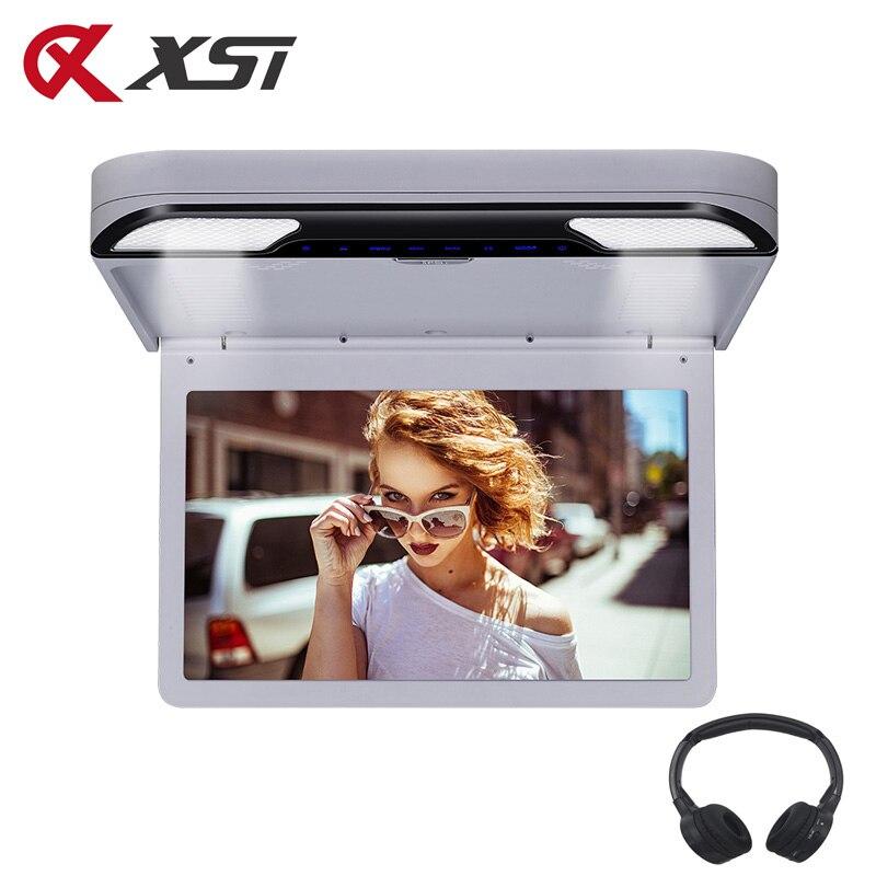 XST 13,3 pulgadas Monitor de techo de montaje de techo de coche 1920x1080 Pantalla de botón táctil reproductor de DVD USB/SD/HDMI/ transmisor IR/FM/altavoz/juego