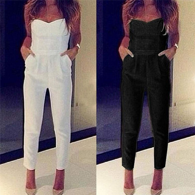ef6ae021315 Womens Jumpsuit Sexy High Waist Slim Solid Pocket Long Jumpsuits Overalls  Pant White Black 2016 Strapless Jumpsuit Rompers