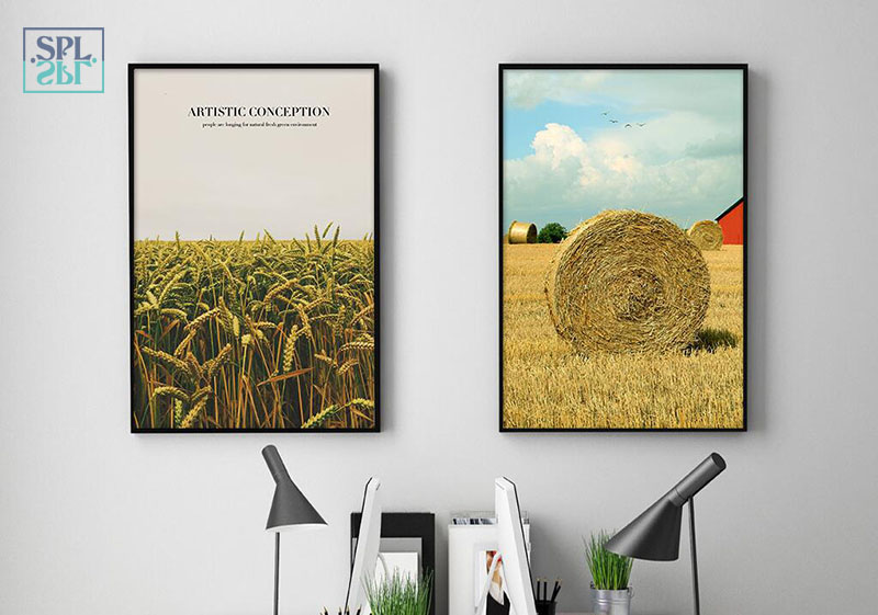 SPLSPL Nordic Scenery Wheat Fields Wall Picture for Home Decoration A4 Print Canvas Art Painting Without Wooden Frame