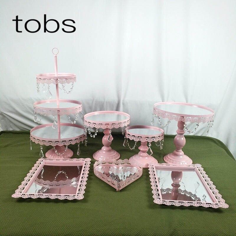 Pink 1-7PCS Dessert Tray 3 Tier Cupcake Dessert Display Decoration Tool Wedding Crystal Mirror Cake Stand Set