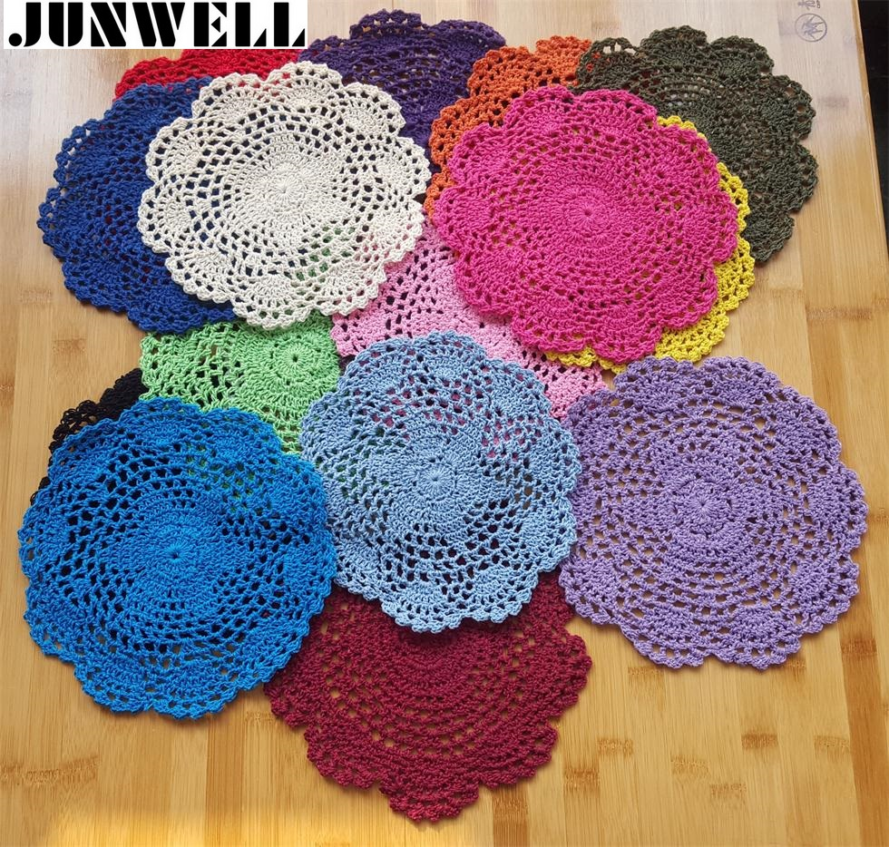 20CM(7.8Inches) Shabby Chic Multi Color Vintage Crocheted Doilies Handmade Crochet Coasters Cotton Lace Cup Mat Placemat