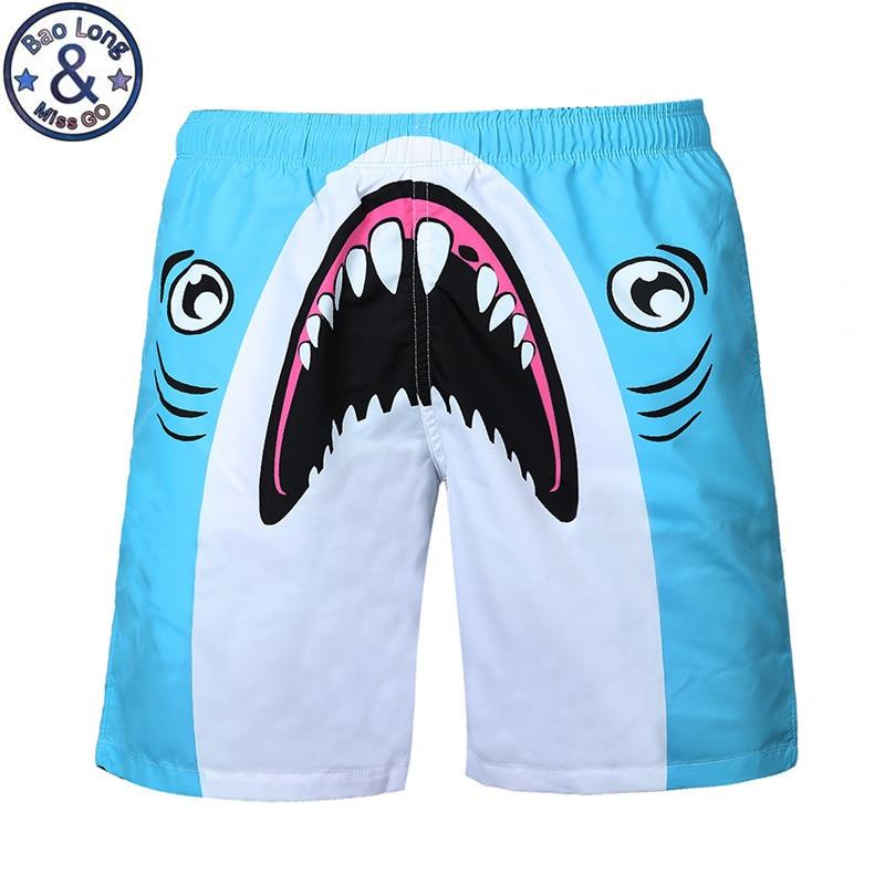 Fashion Men Brand Beach Shorts Boardshort Bermudas Masculina Shorts Cartoon Shark Shorts Homme