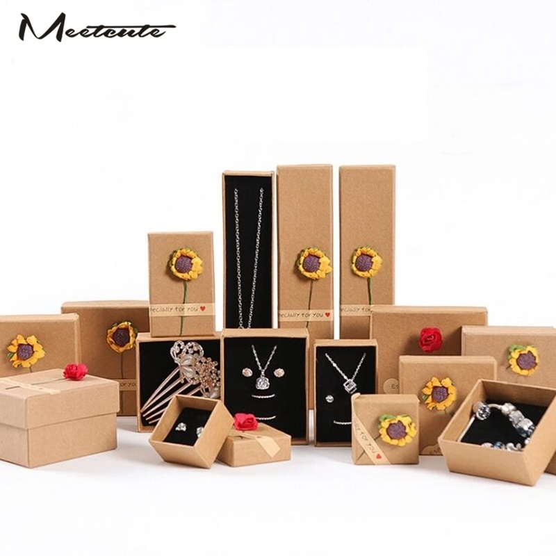 Meetcute Retro Paper Jewelry Box For Bracelet Necklace Ring Earrings Gift Boxes Set Display Packaging Wholesale