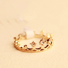Choke a small chili with paragraph cute little LORI Crystal Engagement Ring elegant luxury flash Crystal crown ring female(China)
