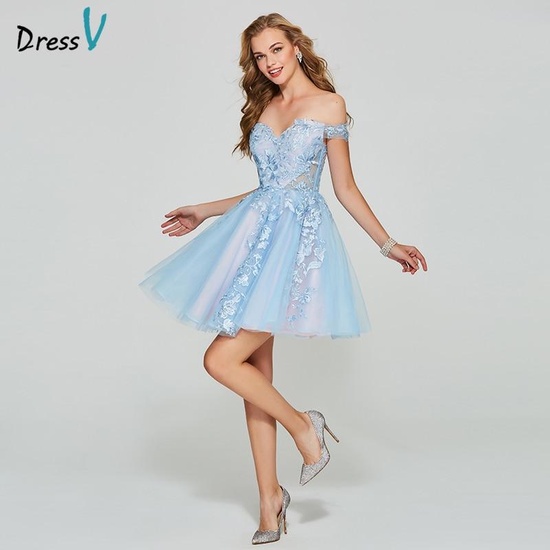 Dressv blue short mini homecoming dress off the shoulder a line cheap zipper  up sleeveless appliques homecoming graduation dress-in Homecoming Dresses  from ... a0b4f6bf528c