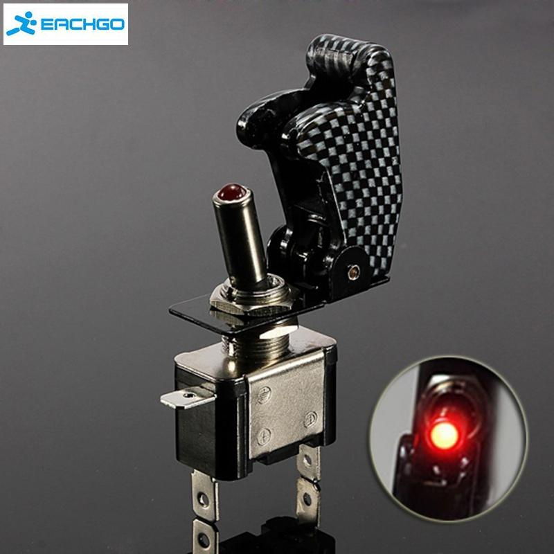 New 12v 20a Red Illuminated Led Toggle Switch Control On