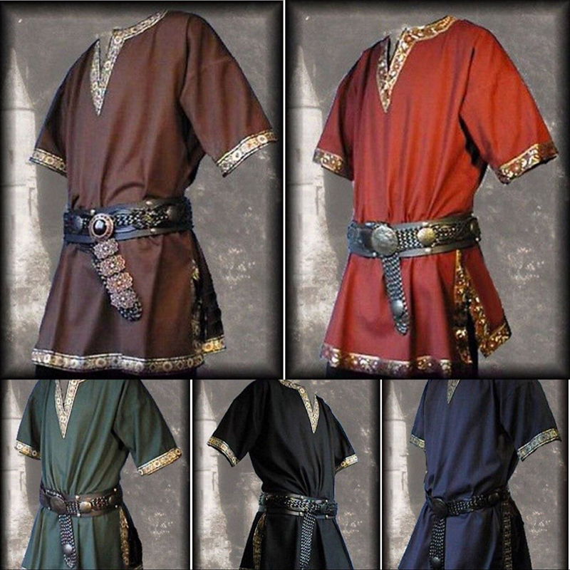 Adult Men Medieval Renaissance Tunic Aristocrat Chevalier Costume Braided Viking Pirate Saxon Cosplay Top Shirt For Men