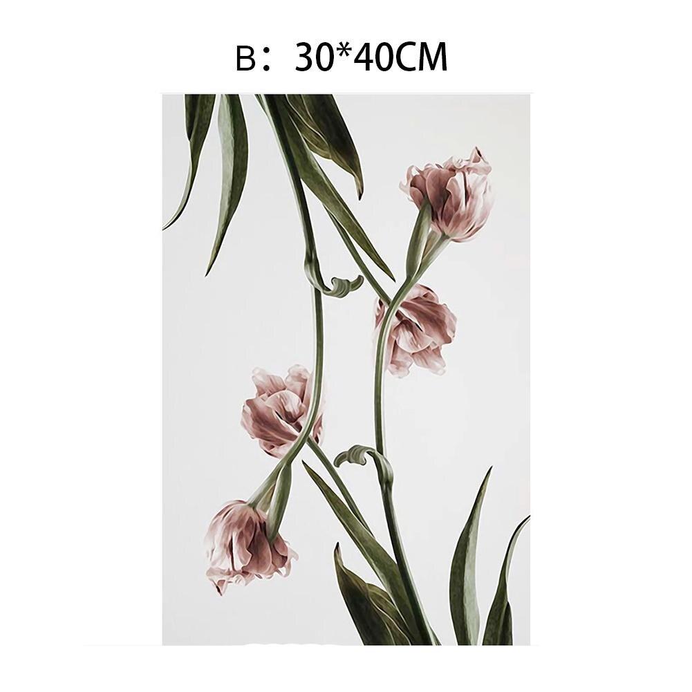 Скандинавские цветы плакат Холст Картина романтические настенные картины для гостиной HD плакаты и принты Розовый Зеленый дом Декоративные