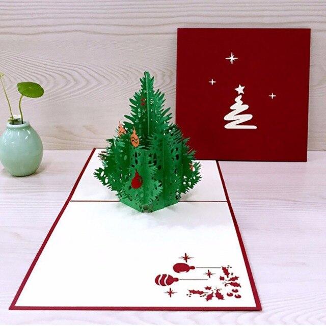 Biglietti Di Natale Di Carta.3d Felice Albero Di Natale Biglietti Di Auguri Fatti A Mano Carta Di