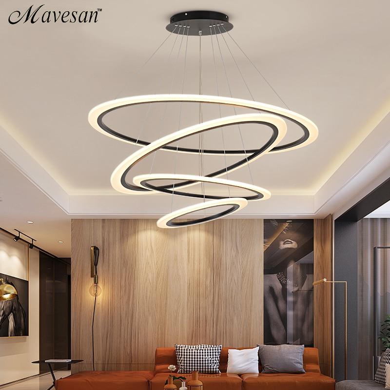 Modern LED hanging lights Lamp For Living Room Lustre Pendant Lights with 30cm/50cm/70cm single rings for dinning room