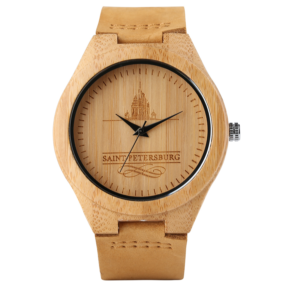 High Quality Handmade Bamboo Wood Watch Saint Peters burg Design Men's Quartz Wrist Watch Real Genuine Leather Gift Item r peters gift to be simple